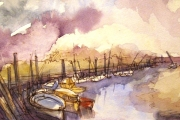 11-012 - Boats at Blakeney - £45 - Line & W/colour on Paper - White mount 35x25cm