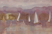 11-040 - Evening Sail at Barton - £113 - Watercolour on Paper - White mount  in Wood frame	40x30cm