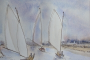 11-069 - Catch the Breeze - Line & W/colour on Paper - £30.00 - 22x26cm