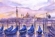 11-077 - San Giorgio Maggiore Venice - Line & W/colour on W/C Paper - £ TBC - Mounted 35x28cm