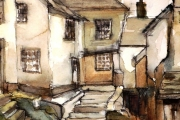 13-003 - Fishermans Cottages - Line & W/colour on Paper - £30.00 - Mounted 28x22cm