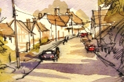 13-015 - Suffolk Village - £38	 - Line & W/colour on Paper - White mount 25x20cm