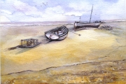 13-039 - Aldeburg Boats - £98 - Watercolour on W/C Paper- White mount in Black frame 35x28cm