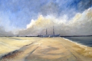 13-051 - Two Boats Aldeburgh - £180 - Oil on Canvas -  50x40cm
