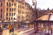 13-086 - A Walk Though Gdansk - Watercolour 0n W/C Paper - £25.00 - 25x20cm - Mounted