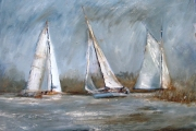 13-095 - Sailing at St Benets - Oil on Board - £225.00 - 56x46cm - Mounted and in Wite Frame