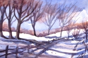 13-107 - Winter Track I - £62 - Watercolour on W/C Paper - White mount in Black frame 25x20cm