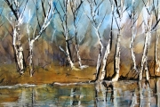 13-112 - Autumn Glow on the River Ant II - Watercolour on W/C Paper - £103.00 - 50x40cm Mounted and in Oak Frame