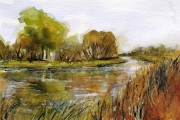 13-113 - Autumn Colour on the Bure - £99 - Watercolour on W/C Paper - Mounted -Oak Frame 35x28cm