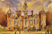 14-005 - Blickling Hall - £62 - Watercolour 0n W/C Paper - White mount in Oak frame 25x20cm