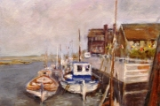 14-020 - Boats at Blakeney II - £315 - Oil on Board - White mount in White frame 57x46cm