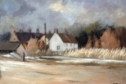 14-021 - Windy Day at Brancaster Staithe -£338 -  Oil on Board - White mount in Oak frame	41x34cm