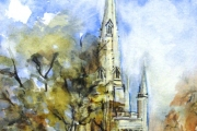 14-061 - Norwich Cathedral Spire - £144 - Line & W/colour on W/C Paper - White mount in Oak frame 45x35cm