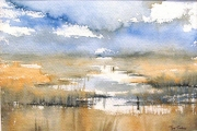 15-034 - Norfolk Marshes - £100.50 - Watercolour on on W/C Paper - Mounted in Oak frame 35x28cm