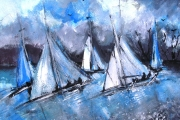 15-043 - Evening Sail - £153 - Acrylic on W/C Paper - White mount in Black frame	50x40cm