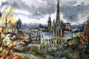 15-051 Grey Skies Over Norwich £135.00 Mixed Media on W/C PaperMounted 45x35cm in Black Frame