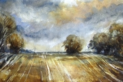 15-055 Across the fields £82.50 Watercolour on W/C Paper	 Mounted 	40x30cm