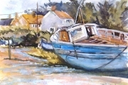 160-021 -	Blue Boats at Brancaster Staithe - £90.00 - Watercolour on Board - Mounted 35x28cm