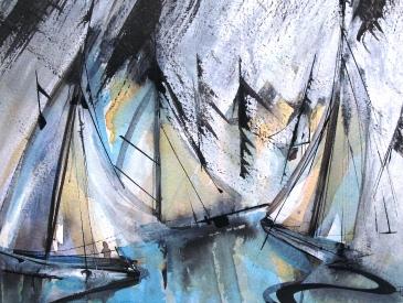 Watercolour - Sail Reflections Barton Broad